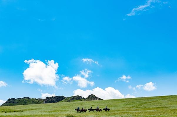 モンゴル高原と満点の青空